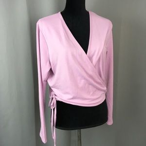 Xersion pink studio wrap gym coverup top xl